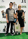 "UNIVERSAL CITY, CA. - May 16: Musician Mark Hoppus of Blink 182, his son Jack Hoppus and wife Skye Hoppus arrive at the ""Shrek Forever After"" Los Angeles Premiere at Gibson Amphitheatre on May 16, 2010 in Universal City, California."