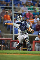 Trenton Thunder catcher Eddy Rodriguez (19) throws to first during a game against the Binghamton Mets on August 8, 2015 at NYSEG Stadium in Binghamton, New York.  Trenton defeated Binghamton 4-2.  (Mike Janes/Four Seam Images)