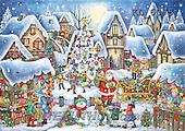 Interlitho, CHRISTMAS SANTA, SNOWMAN, WEIHNACHTSMÄNNER, SCHNEEMÄNNER, PAPÁ NOEL, MUÑECOS DE NIEVE, paintings+++++,market place,KL6075,#X# ,nostalgic