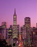 San Francisco downtown with city lights at twilight with TransAmerica pyramid and downtown streets with car streaks California State USA