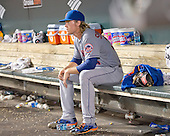 New York Mets starting pitcher Noah Syndergaard (34) sits alone in the dugout after being taken out of the game in the sixth inning against the Baltimore Orioles at Oriole Park at Camden Yards in Baltimore, Maryland on Wednesday, August 19, 2015.  The Orioles won the game 5 - 4.<br /> Credit: Ron Sachs / CNP<br /> (RESTRICTION: NO New York or New Jersey Newspapers or newspapers within a 75 mile radius of New York City)