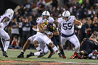 College Park, MD - September 27, 2019: Penn State Nittany Lions linebacker Ellis Brooks (13) sacks Maryland Terrapins quarterback Josh Jackson (17) during game between Penn St and Maryland at  Capital One Field at Maryland Stadium in College Park, MD.  (Photo by Elliott Brown/Media Images International)