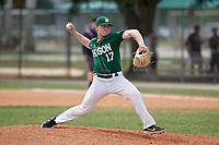Babson Beavers starting pitcher Jordy Allard (17) during a game against the Edgewood Eagles on March 18, 2019 at Lee County Player Development Complex in Fort Myers, Florida.  Babson defeated Edgewood 23-7.  (Mike Janes/Four Seam Images)