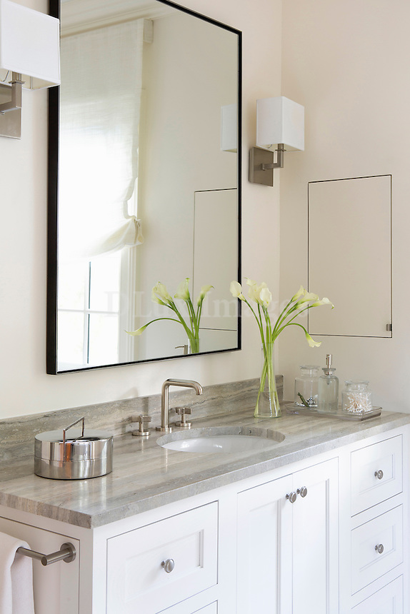 White washstand with marble worktop