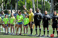 8 November 2015:  North Texas Goalkeeper Jackie Kerestine (0) is introduced prior to the match as the University of North Texas Mean Green defeated the Marshall University Thundering Herd, 1-0, in the Conference USA championship game at University Park Stadium in Miami, Florida.