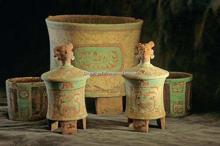 Maya; Copan; Honduras,Sub-Jaguar Tomb, Offering Vessels