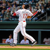 Third baseman Garin Cecchini (17) of the Greenville Drive in game against the Lakewood BlueClaws on Opening Day, April 5, 2012, at Fluor Field at the West End in Greenville, South Carolina. (Tom Priddy/Four Seam Images)
