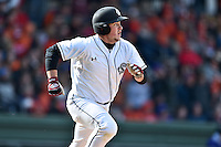 South Carolina catcher Hunter Taylor (38) runs to first during a game against the Clemson Tigers at Fluor Field February 28, 2015 in Greenville, South Carolina. The Gamecocks defeated the Tigers 4-1. (Tony Farlow/Four Seam Images)