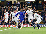 Chelsea's Diego Costa finds himself surrounded by PSG's Blaise Matuidi and David Luiz<br /> <br /> - UEFA Champions League - Chelsea vs Paris Saint Germain - Stamford Bridge - London - England - 9th March 2016 - Pic David Klein/Sportimage