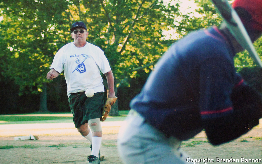 Al Nachreiner pitching fast pitch softball. He played in a  Buffalo< NY league until he was 62 years old.