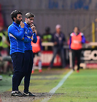 Lincoln City manager Danny Cowley, left, and Lincoln City's assistant manager Nicky Cowley<br /> <br /> Photographer Chris Vaughan/CameraSport<br /> <br /> The EFL Sky Bet League Two Play Off Second Leg - Exeter City v Lincoln City - Thursday 17th May 2018 - St James Park - Exeter<br /> <br /> World Copyright &copy; 2018 CameraSport. All rights reserved. 43 Linden Ave. Countesthorpe. Leicester. England. LE8 5PG - Tel: +44 (0) 116 277 4147 - admin@camerasport.com - www.camerasport.com