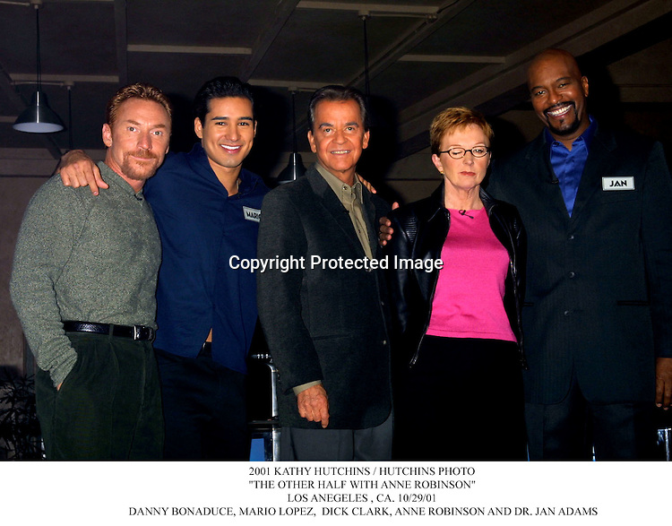 """2001 KATHY HUTCHINS / HUTCHINS PHOTO.""""THE OTHER HALF WITH ANNE ROBINSON"""".LOS ANEGELES , CA. 10/29/01. DANNY BONADUCE, MARIO LOPEZ,  DICK CLARK, ANNE ROBINSON AND DR. JAN ADAMS"""