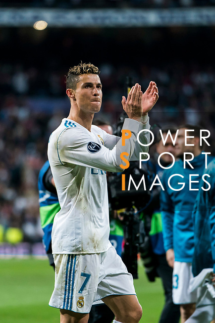 Cristiano Ronaldo of Real Madrid celebrates after the UEFA Champions League Semi-final 2nd leg match between Real Madrid and Bayern Munich at the Estadio Santiago Bernabeu on May 01 2018 in Madrid, Spain. Photo by Diego Souto / Power Sport Images
