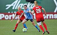 Portland, OR - Saturday July 02, 2016: Catherine Zimmerman, McKenzie Berryhill during a regular season National Women's Soccer League (NWSL) match between the Portland Thorns FC and Sky Blue FC at Providence Park.
