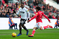Joel Asoro of Swansea City vies for possession with Jay Dasilva of Bristol City during the Sky Bet Championship match between Bristol City and Swansea City at Ashton Gate in Bristol, England, UK. Monday 02 February 2019