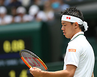 Kei Nishikori (JPN) during his match against Novak Djokovic (SRB) in their Men's Quarter Final match<br /> <br /> Photographer Rob Newell/CameraSport<br /> <br /> Wimbledon Lawn Tennis Championships - Day 9 - Wedesday 11th July 2018 -  All England Lawn Tennis and Croquet Club - Wimbledon - London - England<br /> <br /> World Copyright &not;&copy; 2017 CameraSport. All rights reserved. 43 Linden Ave. Countesthorpe. Leicester. England. LE8 5PG - Tel: +44 (0) 116 277 4147 - admin@camerasport.com - www.camerasport.com