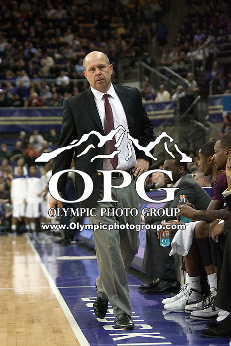 Feb 16, 2012:  Arizona State head coach Herb Sendek against Washington.  Washington defeated Arizona State 77-69 at Alaska Airlines Arena Seattle, Washington...