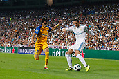 13th September 2017, Santiago Bernabeu, Madrid, Spain; UCL Champions League football, Real Madrid versus Apoel; Praxitelis Vouros (29) Apoel Gareth Bale (11) Real Madrid cuts the ball back in the box