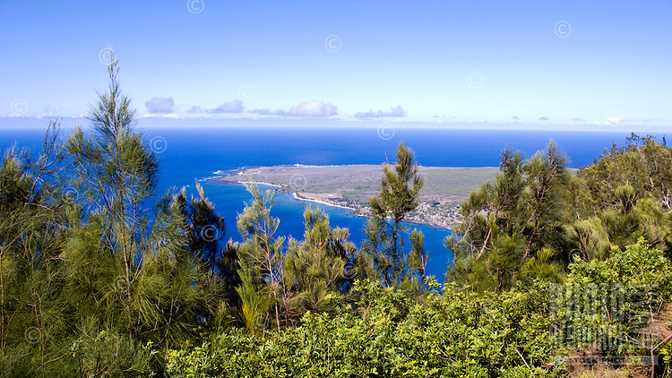 Kalaupapa from overlook in cliffs behind the settlement