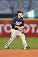 Gwinnett Braves shortstop Sean Kazmar (9) in the field during a game against the Buffalo Bisons on May 13, 2014 at Coca-Cola Field in Buffalo, New  York.  Gwinnett defeated Buffalo 3-2.  (Mike Janes/Four Seam Images)