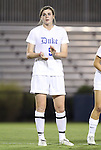 29 September 2011: Duke's Kelly Cobb. The Duke University Blue Devils and the University of Virginia Cavaliers played to a 0-0 tie after overtime at Koskinen Stadium in Durham, North Carolina in an NCAA Division I Women's Soccer game.