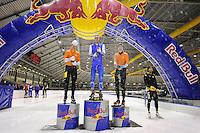 SCHAATSEN: HEERENVEEN: 21-03-2016, IJstadion Thialf, Kjelds Vliegendestart, winnaars bij de heren,<br /> &copy;foto Martin de Jong