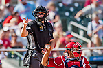 24 February 2019: MLB Umpire Shane Livensparger works home plate during a Spring Training game between the Washington Nationals and the St. Louis Cardinals at Roger Dean Stadium in Jupiter, Florida. The Cardinals fell to the Nationals 12-2 in Grapefruit League play. Mandatory Credit: Ed Wolfstein Photo *** RAW (NEF) Image File Available ***