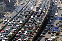 Worst traffic jam in central Beijing, China. One thousand new cars are added to Beijing's roads each day massively adding to the pollution problems..04 Apr 2008
