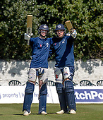 Issued by Cricket Scotland - Scotland players Michael Jones and Mark Watt (right) in some practice ahead of tomorrow's (sat) Scotland V Sri Lanka 1st One Day International at Grange CC, Edinburgh - picture by Donald MacLeod - 17.05.19 - 07702 319 738 - clanmacleod@btinternet.com - www.donald-macleod.com