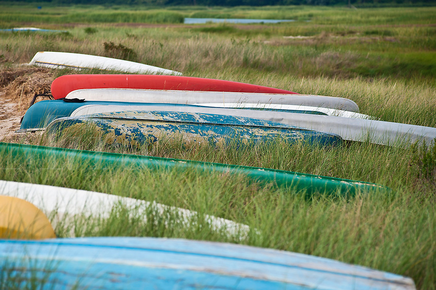 Canoes, Boat Meadow Creek, Orleans, Cape Cod, MA, Massachusetts , USA