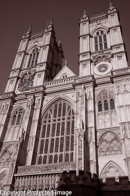 Main Facade of Westminster Abbey Church in London, England