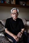Tokyo, September 25 2013 - Portrait of Japanese writer Kenzaburo Oe at his house in eastern Tokyo.