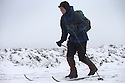 29/01/17<br /> <br /> Following overnight snowfall, cross-country ski instructor, John Mordue, makes his way across Axe Edge Moor near Buxton in the Derbyshire Peak District.<br /> <br /> All Rights Reserved F Stop Press Ltd. (0)1773 550665 www.fstoppress.com