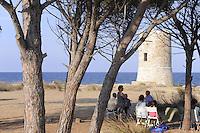 - Sardinia, Posada village,  site of La Caletta,  St John Aragonese tower ....- Sardegna, la Caletta , comune di Posada, torre Aragonese di San Giovanni..