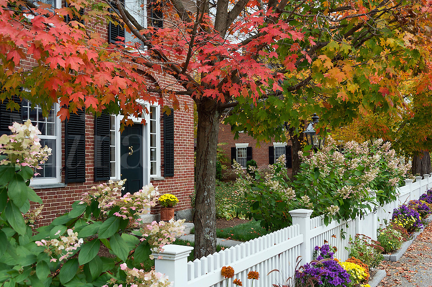 Charming New England brick house with picket fence, Grafton, Vermont, USA