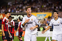 Sergio Ramos (4) of Real Madrid celebrates scoring. Real Madrid defeated A. C. Milan 5-1 during a 2012 Herbalife World Football Challenge match at Yankee Stadium in New York, NY, on August 8, 2012.
