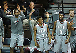 SIOUX FALLS, SD - MARCH 9:  Players on the IU East bench celebrate a 3-point field goal against Briar Cliff at the 2018 NAIA DII Men's Basketball Championship at the Sanford Pentagon in Sioux Falls. (Photo by Dick Carlson/Inertia)
