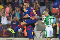 FOOTBALL: FC Barcelone vs Real Betis - La Liga-25/08/2019<br /> Sergio Busquets (FCB, Jordi Alba (FCB) celebrate <br />  <br /> 25/08/2019 <br /> Barcelona - Real Betis  <br /> Calcio La Liga 2019/2020  <br /> Photo Paco Largo/Panoramic/insidefoto