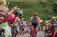 Julien Bernard (FRA/Trek-Segafredo) up the last climb of the 2018 Tour: the Col d'Aubisque (HC/1709m/16.6km@4.9%)<br /> <br /> Stage 19: Lourdes > Laruns (200km)<br /> <br /> 105th Tour de France 2018<br /> ©kramon