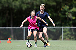 CARY, NC - JUNE 01: Kristen Hamilton (23) and Samantha Mewis (behind). The North Carolina Courage held a training session on June 1, 2017, at WakeMed Soccer Park Field 7 in Cary, NC.