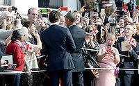 United States President Barack Obama and Prime Minister Justin Trudeau of Canada shakes hands with guests during an Official Arrival ceremony a the White House, March 10, 2016 in Washington, D.C. Photo Credit: Olivier Douliery/CNP/AdMedia