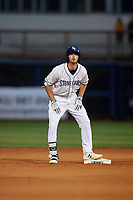Charlotte Stone Crabs Tanner Dodson (10) gestures after hitting a double during a Florida State League game against the Fort Myers Miracle on April 6, 2019 at Charlotte Sports Park in Port Charlotte, Florida.  Fort Myers defeated Charlotte 7-4.  (Mike Janes/Four Seam Images)
