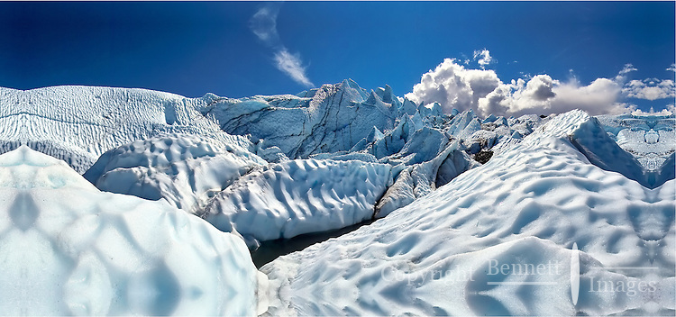 The summer sun melts patterns into the ice of the Matanuska Glacier, located about 100 miles north of Anchorage.
