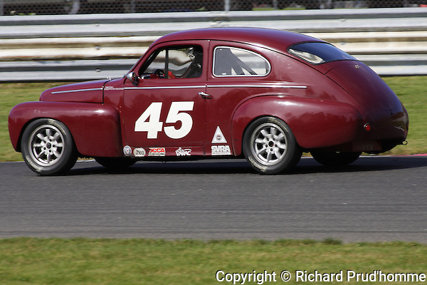 A 1959 Volvo driven by Dan Scully of Keene NH competing in the Fall Classic Vintage race at Circuit Mont-Tremblant in Quebec