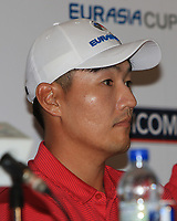 Sunghoon Kang (Asia) during an interview after the Friday Foursomes of the Eurasia Cup at Glenmarie Golf and Country Club on the 12th January 2018.<br /> Picture:  Thos Caffrey / www.golffile.ie