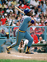 CIRCA 1975: Hank Aaron #44 of the Milwaukee Brewers bats during a game from his 1975 season. Aaron played 23 seasons, with 2 different teams, was a 25-time All-Star and inducted to the Baseball Hall of Fame in 1982.  (Photo by: 1975  SportPics  )  Hank Aaron