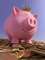 Happy piggy bank standing on top of heap of gold coins