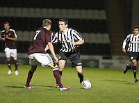John McGinn takes on Billy King in the St Mirren v Heart of Midlothian Clydesdale Bank Scottish Premier League U20 match played at St Mirren Park, Paisley on 6.11.12.