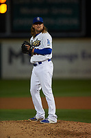 Rancho Cucamonga Quakes relief pitcher Stetson Allie (23) prepares to deliver a pitch during a California League game against the Lake Elsinore Storm at LoanMart Field on May 19, 2018 in Rancho Cucamonga, California. Lake Elsinore defeated Rancho Cucamonga 10-7. (Zachary Lucy/Four Seam Images)