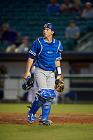 Oklahoma City Dodgers catcher Will Smith (10) during a Pacific Coast League game against the New Orleans Baby Cakes on May 6, 2019 at Shrine on Airline in New Orleans, Louisiana.  New Orleans defeated Oklahoma City 4-0.  (Mike Janes/Four Seam Images)